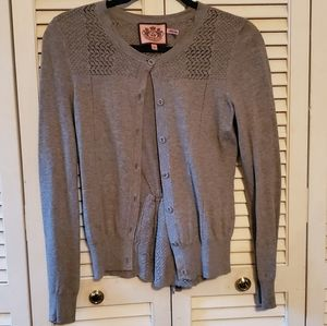 Juicy Couture Grey Button Down Cardigan With Ruchi